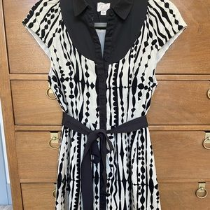 Black and White Corduroy Printed Dress